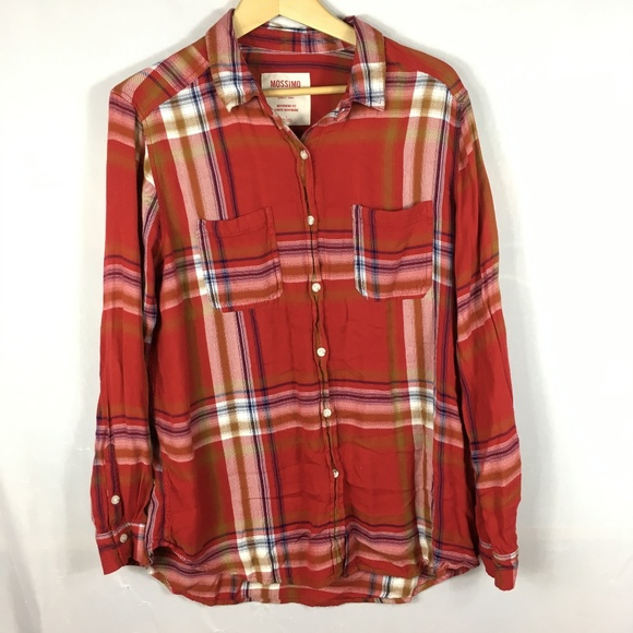 5612db893 Mossimo Supply Co. Tops | Flannel Shirt Long Sleeve Red Plaid ...